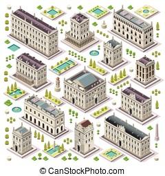 City Map Set Tiles Isometric