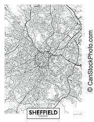 City map Sheffield, travel vector poster design