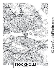 City map Stockholm, travel vector poster design for interior decoration