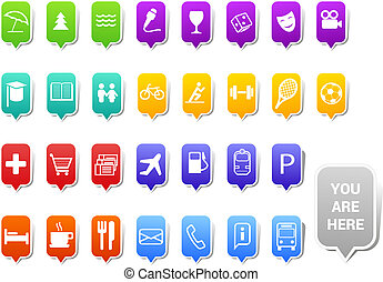 City map tags - Vector set of  tags for urban infrastructure