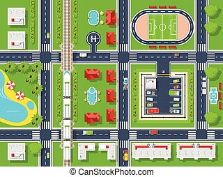 City Map Top view - City map top view poster with roads...