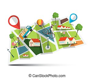 City Map. Vector Abstract Town with Pins.