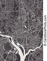 City map Washington, monochrome detailed plan, vector illustration