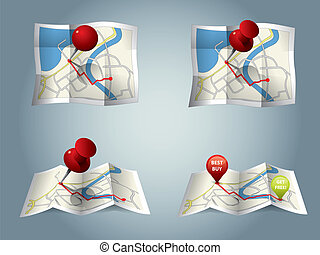 City map with GPS Icons and route