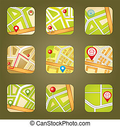 City map with GPS icons