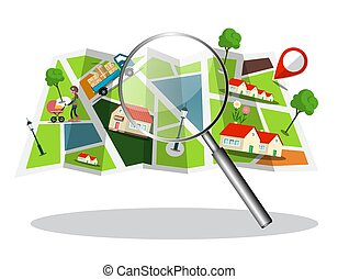 City Map with Houses, Streets and Magnifying Glass Vector Icon