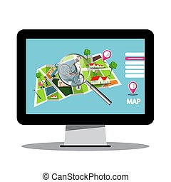 City Map with Magnifying Glass on Computer Screen - Vector
