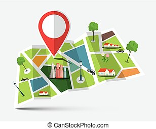 City Map with Marker, Houses, Trees and Cars. Vector Illustration.