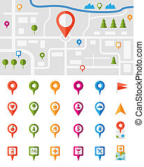 City map with pin pointers - City map with a large set of...