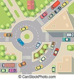 City map with top view cars and houses vector illustration