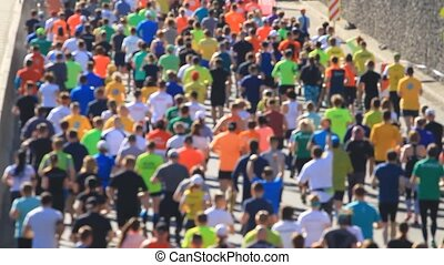 City marathon of people runners