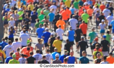 City marathon on people running