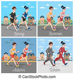 City Marathon Runners. Man and Woman Running Through the Town. Seasonal Running. Vector illustration