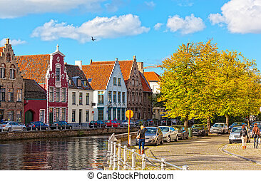 city., medieval, clásico, bruges., fairytale, canales,...