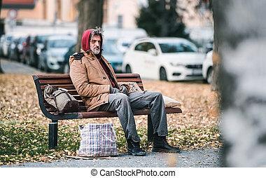 city., mendiant, séance, space., banc, sac, sdf, dehors, copie, homme