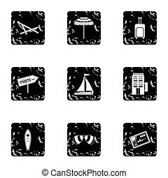 City Miami icons set, grunge style