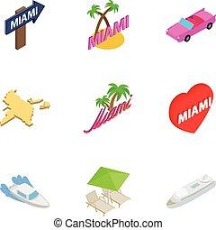City Miami icons set, isometric 3d style