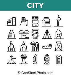 City Modern Building Collection Icons Set Vector