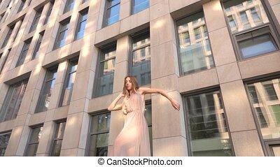 city., moderne, lent, motion., contemporain, danse, rue, jeune, beau, exécuter, girl
