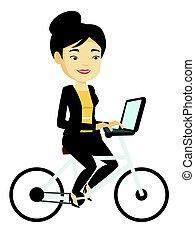 city., mujer, montar a caballo de la bicicleta