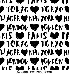 City Names Seamless Pattern