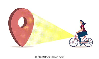 City Navigation for Bicyclists Flat Vector Concept