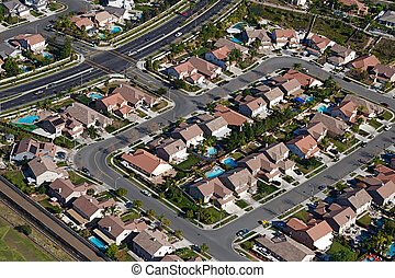 City Neighborhood - Aerial view of suburban sprawl and...