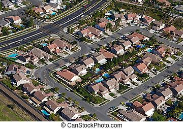 City Neighborhood - Aerial view of suburban sprawl and...