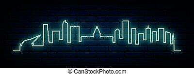 city., neon, sylwetka na tle nieba, błękitny, denver