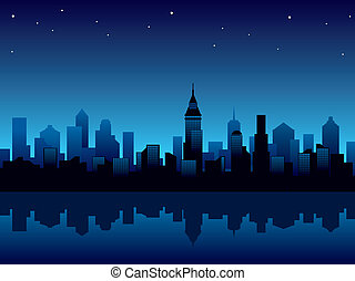 City night - Illustration with panorama of modern city at...