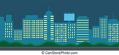 City night landscape. Skyscrapers with lighted windows. Large billboard. Urban landscape. Flat image