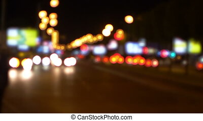 City Night Life, Out Of Focus Traffic Lights, Bokeh Blurred Background