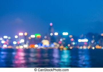City night light blur bokeh, defocused background.