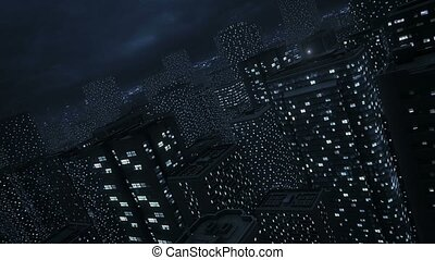 City Night Lights - Cityscape night time zoom out.
