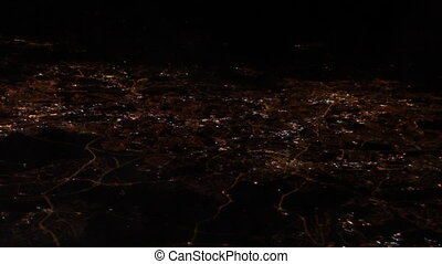 City night lights from airplane