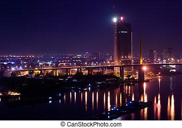 City night lights in motion blur.