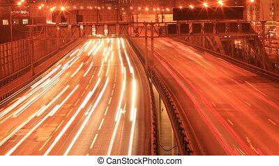City night lights road timelapse