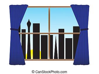 City Night No Lights Curtains Morning