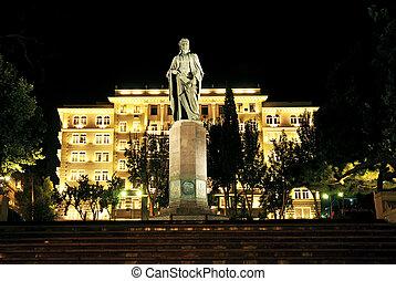 city square night scene in baku azerbaijan