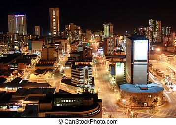 city night scene - night view of Durban city, South Africa...