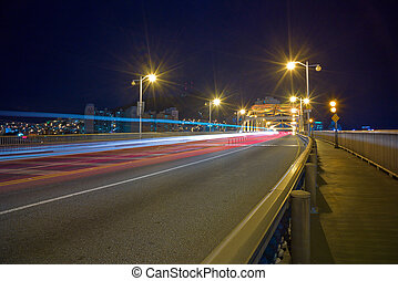 City night scene with car lights