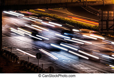 city night scenes of cars and lights