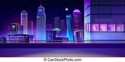 City night skyline cartoon vector background