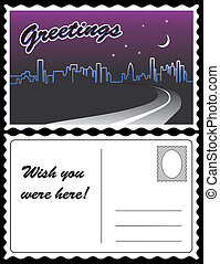 City Night Skyline Travel Postcard - City skyline at night...