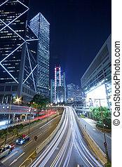 City night traffic with light trails