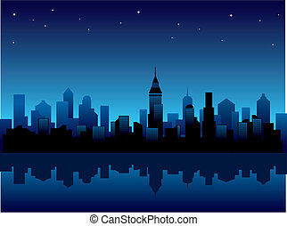 Vector illustration with panorama of modern city at night.