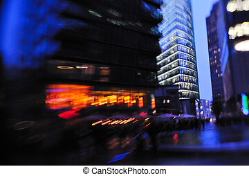 City night with cars motion blurred light in busy street