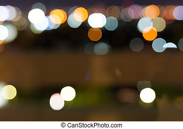 city night with dark sky, abstract blur bokeh light background