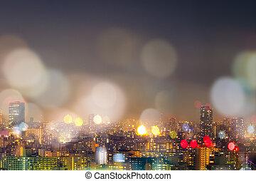 City nightlife, blur bokeh background