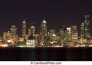 City nightlife - Seattle downtown at night